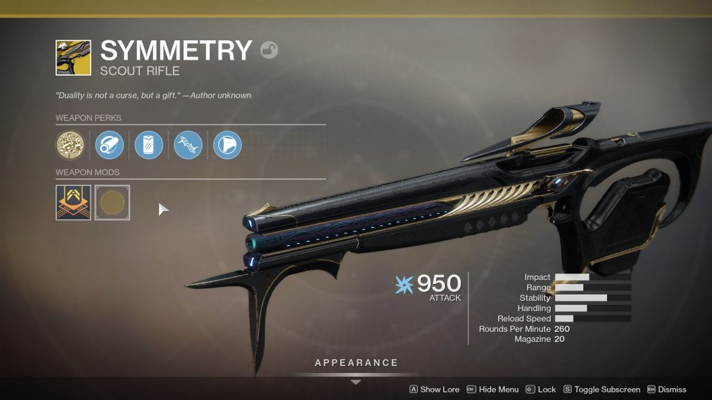 Symmetry Exotic Scout Rifle perks