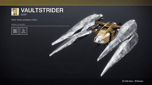 Exotic ship Vaultstrider